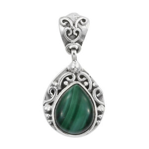 Pendant-Necklace-Handmade-925-Sterling-Silver-Pear-Malachite-Jewelry-for-Women