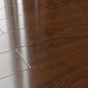 12mm Laminate Flooring Lesscare Mocha Glossy Smooth Finish