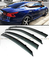 FOR 2016-2017 NISSAN MAXIMA VIP CLIP-ON SMOKE TINTED WINDOW VISOR W/ BLACK TRIM