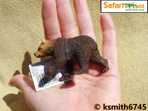 NUOVO Safari Grizzly Bear Cub plastic toy Wild Zoo Baby Marrone Animale Predator