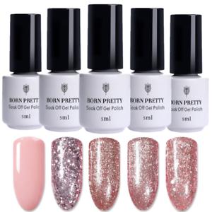5-Bottles-Set-5ml-Soak-Off-UV-Gel-Polish-Rose-Gold-Nail-Art-Varnish-Born-Pretty