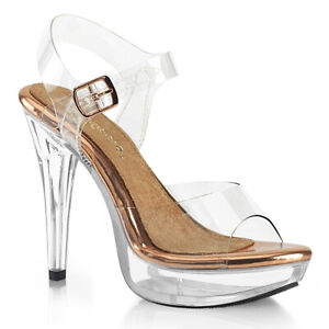 Fabulicious COCKTAIL-508 Clear Rose Gold Platform