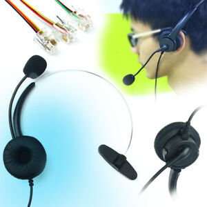 Head-Telephone-Monaural-Headset-Microphone-RJ9-RJ45-Crystal-Wired-f-Call-Center