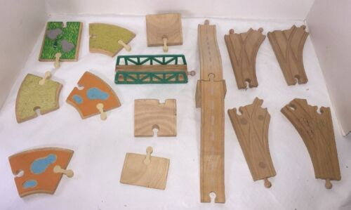 16 Piece Lot Wood Train Track Thomas Brio Plan Toy Specialty Pieces