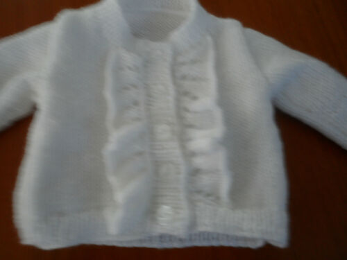 3 years choice of colour Hand knitted baby girl ruffle cardigan size from 0-6m