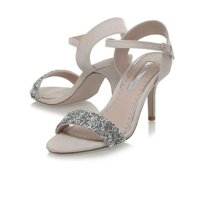Miss kg Geena Ankle Strap Gunmetal Mid Heeled Sandals in