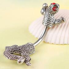 Cool Stainless steel Lizard Gecko Body Piercing Belly Button Navel Ring Jewelry