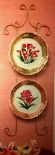 Wall Hanging Plate Rack with 2 Decorative Floral PLATES Shabby Chic! IN THE BOX!
