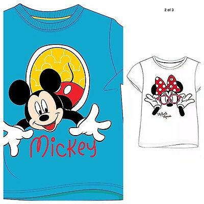 Boys Kids Official Disney Mickey Mouse Blue Short Sleeve T Shirt Top