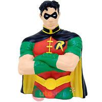 Dc Comics Batman Robin Bust Figure Coin Bank Pvc Figurine Piggy Bank