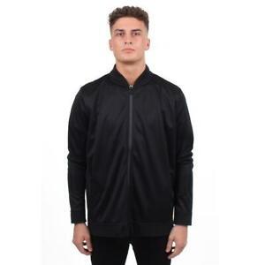 Gio-Goi-Bomber-Jacke-Full-Zip-Herren-Gents-Groesse-UK-XL-schwarz