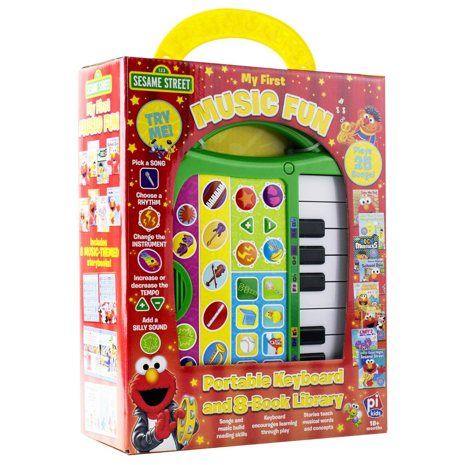 NEW Sesame Street My First Music Fun Portable Keyboard 8 Books Library Activity