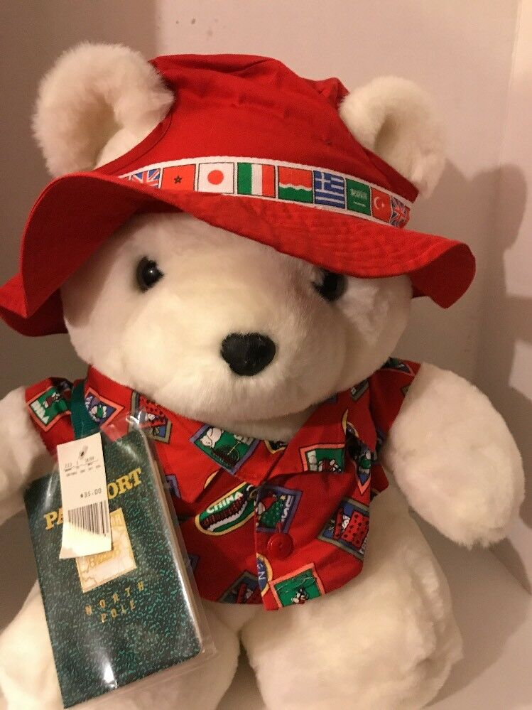 1993 Santa Bear Traveler with original tags attached
