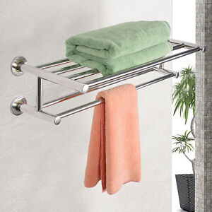Double Towel Rail Holder Wall Mounted Bathroom Rack Shelf ...