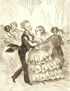 1866 Pen and Ink Drawing - A Bad Waltz