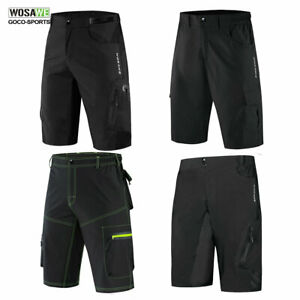 Mens-Cycling-Baggy-Shorts-MTB-Mountain-Bike-Casual-Sports-Short-Pants-Black