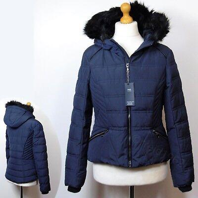 M/&S Classic Black Quilted Detachable Fur Jacket Coat With Stormwear Sz UK 14