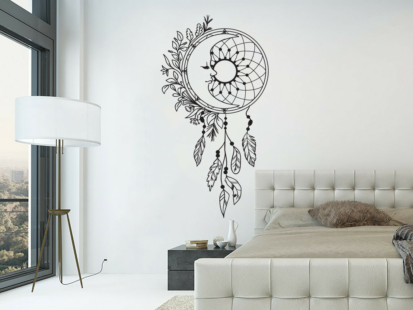 Dream Catcher Wall Decals. Moon Wall Stickers. Boho Bohemian Bedroom Decor NV290