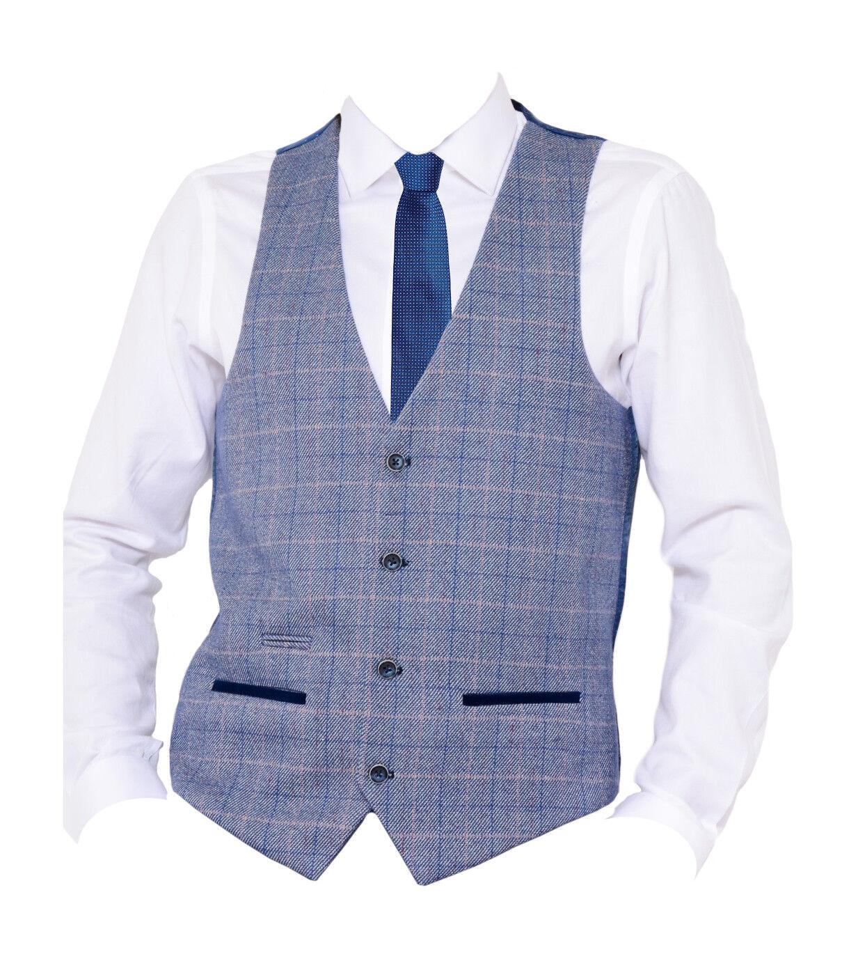 Hommes Marc Darcy Vintage Tweed Carreaux Col V V Col Gilet - Hilton Bleu ece4c5