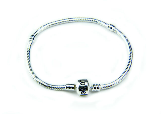 Premium Snake Chain Silver Charm Bead Bracelet (Fit European Beads)