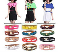 Fashion Candy Color Big Bowknot Pu Leather Thin Skinny Waistband Belt For Women