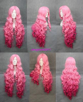 Wonderful Women Pink Wavy Bangs Synthesis Hair Full Wig Cosplay  Long Wig +Cap