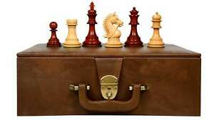 """Combo of Bridle Chess Pieces in Bud Rose / Box Wood - 4.2"""" King with Storage BOX"""