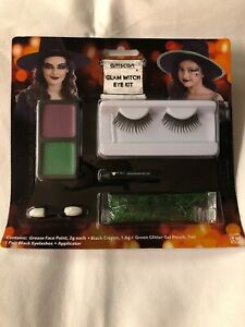 Witch Face Paint Make Up Set With Eyelashes Glitter halloween Fancy Dress