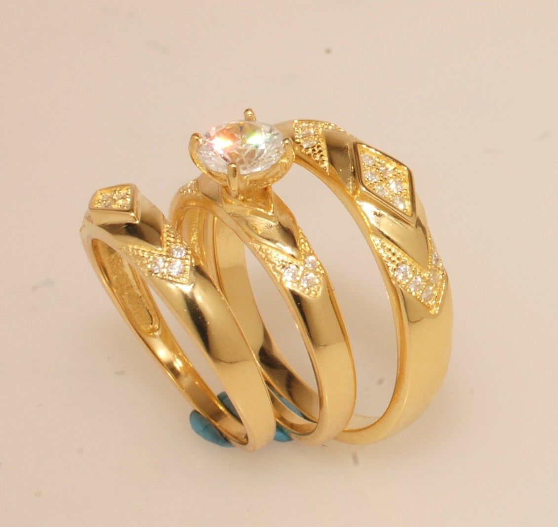 His & Hers Engagement Wedding Ring Trio Set Yellow gold Over Diamond Size L8 M11