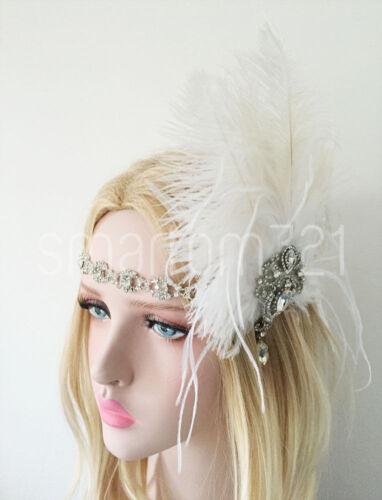 Ostrich Feather Fascinator Hair Clip Headband Gatsby Party 20s Bridal Headpiece