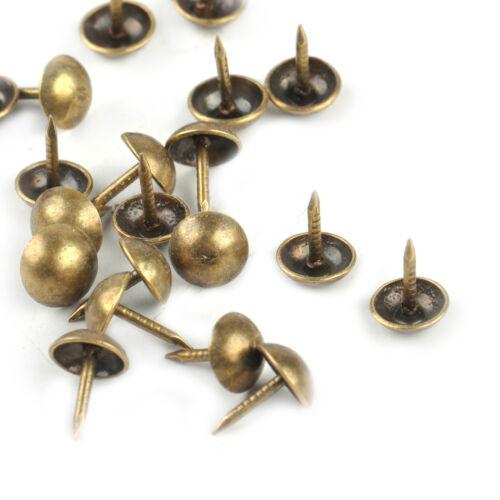 100pcs Round Antique Brass Upholstery Nail Stud Sofa Jewelry Box Decorative Tack