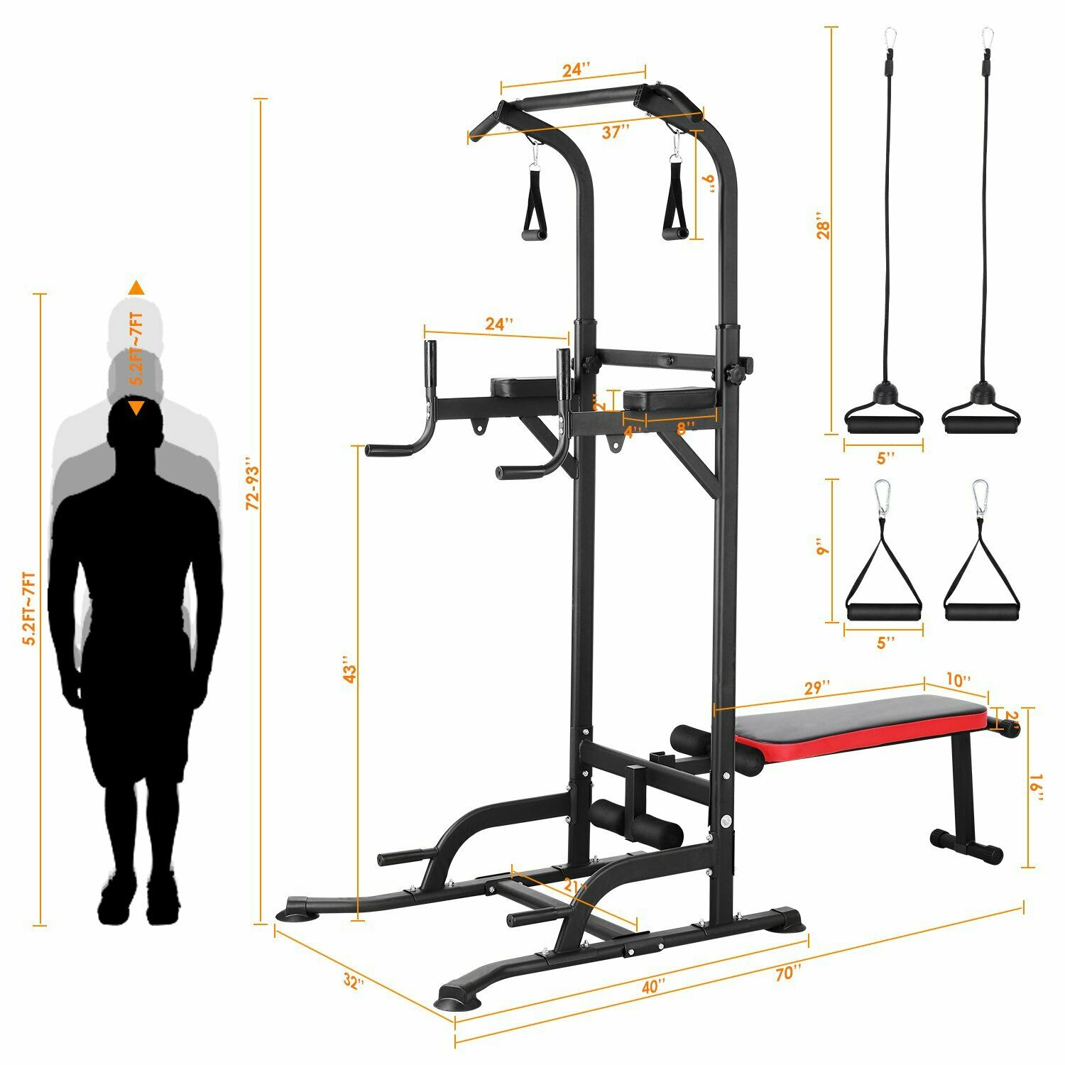 Power Tower Pull Up Bar Dip Station with Sit Up Bench Home Gym Strength Training