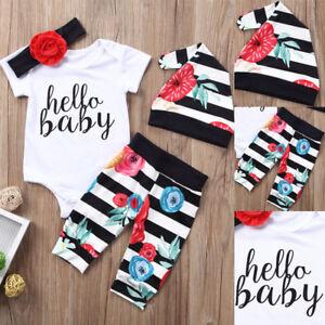 4PCS Newborn Baby Girl Romper Bodysuit Pants Hat Floral Outfit Clothes US wea