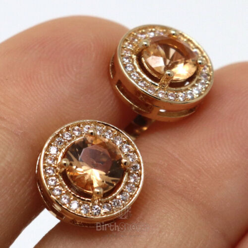 Sparkling 1Ct Citrine CZ Halo Earrings Stud Women Jewelry Gift Rose Gold Plated
