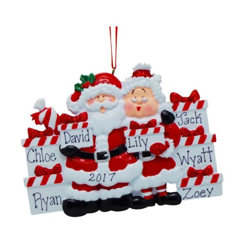 Personalized Santa /& Mrs Claus With Gifts Family of 3 4 5 6 7 Christmas Ornament