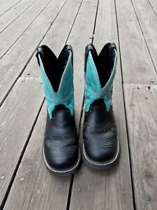 WOMENS-JUSTIN-GYPSY-BLACK-LEATHER-TURQUOISE-8-034-COWBOY-WESTERN-BOOTS-8-5-B