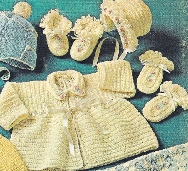 Vintage Crochet Pattern To Make Baby Sweater Bonnet Booties Set