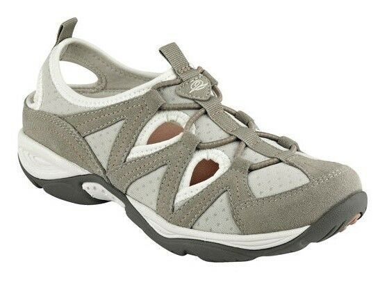 Easy Spirit Earthen athletic walking scarpe suede leather stretch taupe 5 Med NEW