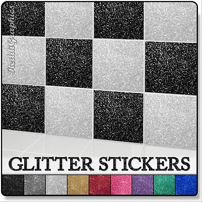 "4/"" Mosaic Tiles Decal Sticker Vinyl Wall Kitchen Bathroom GLITTER 100mm 10cm"