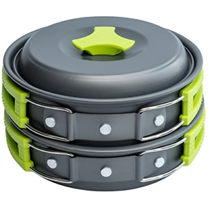 1 Liter Camping Cookware Mess Kit Backpacking Gear & Hiking Outdoors Bug Out Bag