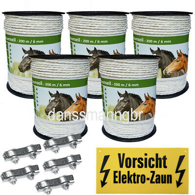 200m Elektroseil Weidezaunseil Ø 6mm Torero PE Monofile Elektrozaun NiRo Kupfer