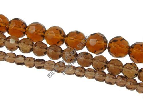 Perles de verre 3 STRANGE Set 4//6//8mm gris rond à facettes bijoux faire toi-même d339