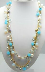 GOLD-FASHION-TURQUOISE-BEAD-AND-WHITE-CLEAR-PINK-PURPLE-PEARL-NECKLACE-47-034