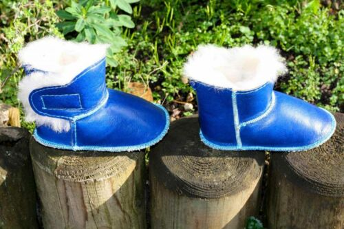 Baby lammfellschuhe-con cierre de velcro zapatillas de casa zapatos piel zapatos para niños