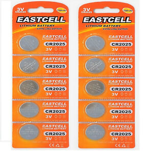 10-x-CR2025-3V-150-mAh-Lithium-Batterie-2-Cards-a-5-Batterien-EASTCELL