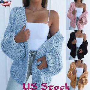 Women-Woolen-Sweater-Knitwear-Cardigan-Puff-Sleeve-Casual-Coat-Outwear-Jacket