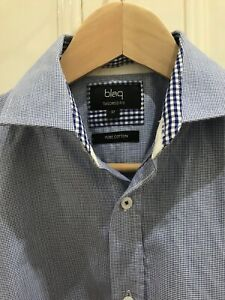 Details about Mens Long Sleeved Tailored Fit Business Shirt Blaq Myer Brand BlueWhite Size 37