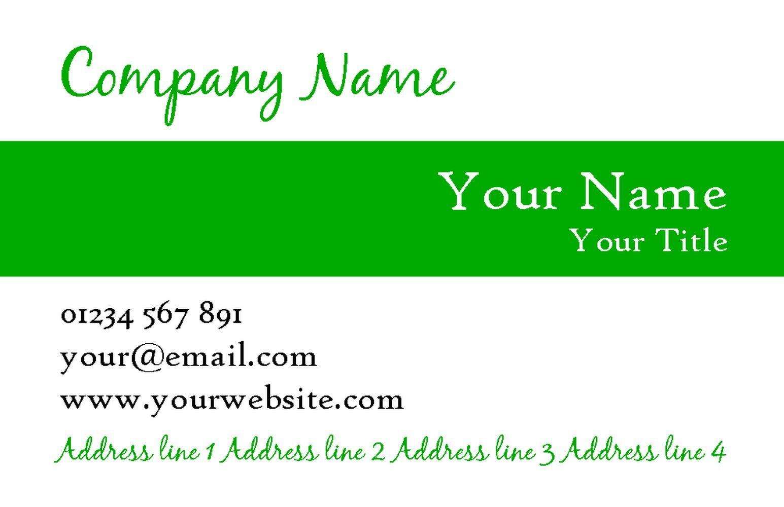 Weiß Weiß Weiß With Grün Stripe Personalised Business Cards 6203fb