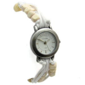 Kahuna-Ladies-Girls-Watch-Cord-amp-Bead-Strap-Water-Resistant-White-KLF-0001l