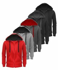 New Plain Mens Hoodie American Fleece Zip Up Jacket Sweatshirt Hooded Top XS-XXL